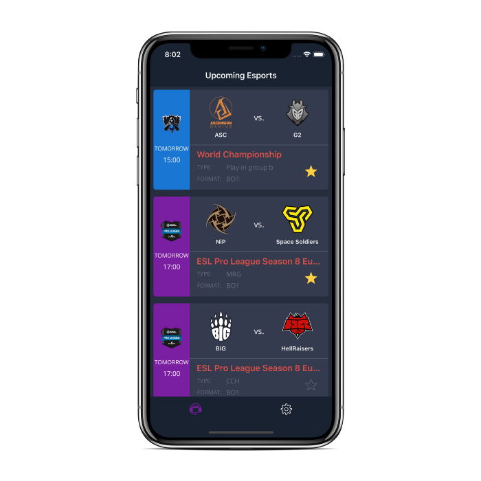Esports Calendar IOS New Design Auto Notification System